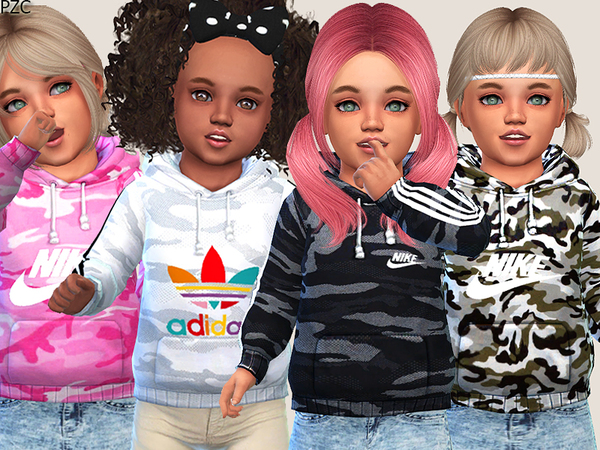 Sims 4 Camo Sporty Hoodies For Toddler by Pinkzombiecupcakes at TSR