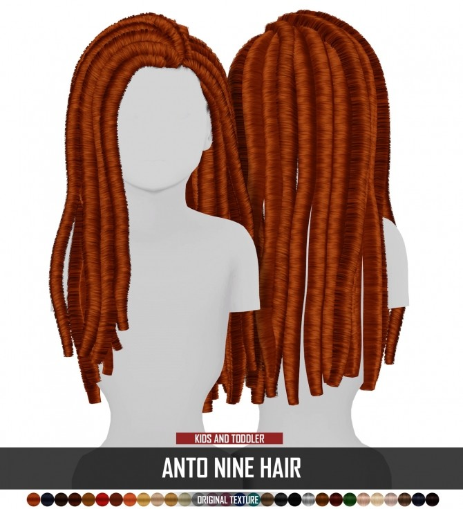 Sims 4 ANTO NINE HAIR KIDS AND TODDLER VERSION by Thiago Mitchell at REDHEADSIMS