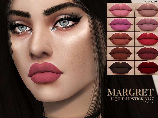 Sims 4 Margret Liquid Lipstick N177 by Pralinesims at TSR