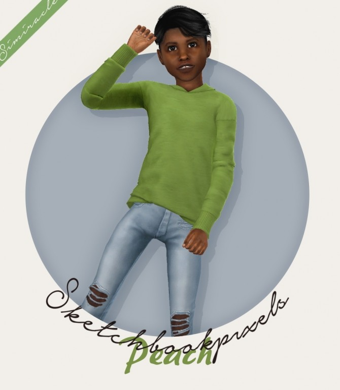 Sims 4 Sketchbookpixels Peach 3T4 sweater for kids at Simiracle