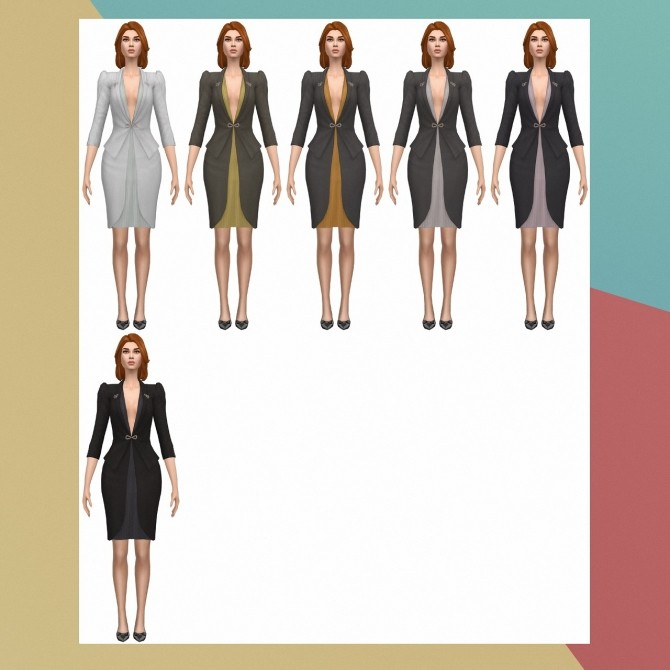 Sims 4 Supernatural Plunge Neck Dress S3 Conversion at Busted Pixels
