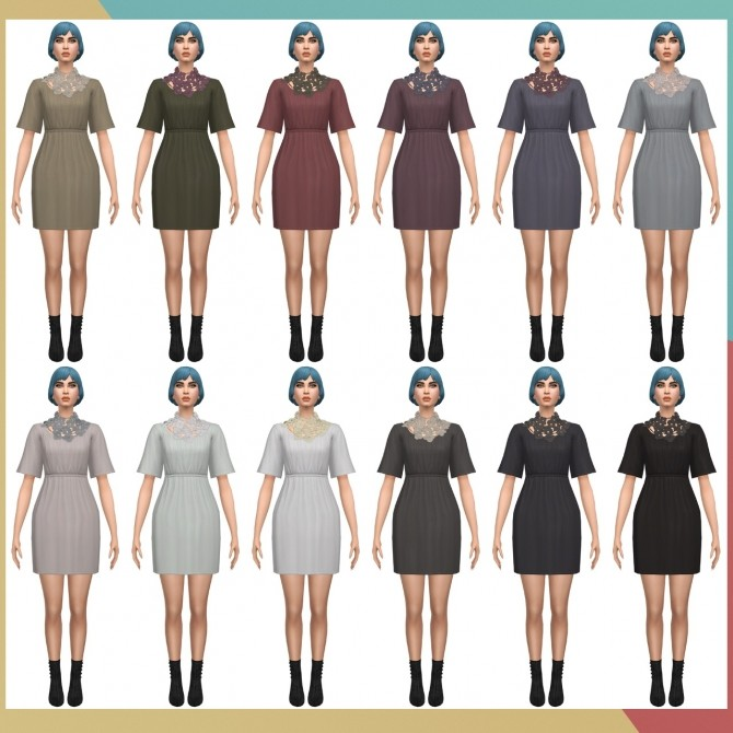Sims 4 Supernatural Dress Scarf Flower S3 Conversion & SP03 Bob Straight Bangs Edit v2 at Busted Pixels