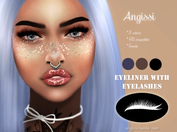 Sims 4 Eyeliner with eyelashes by ANGISSI at TSR