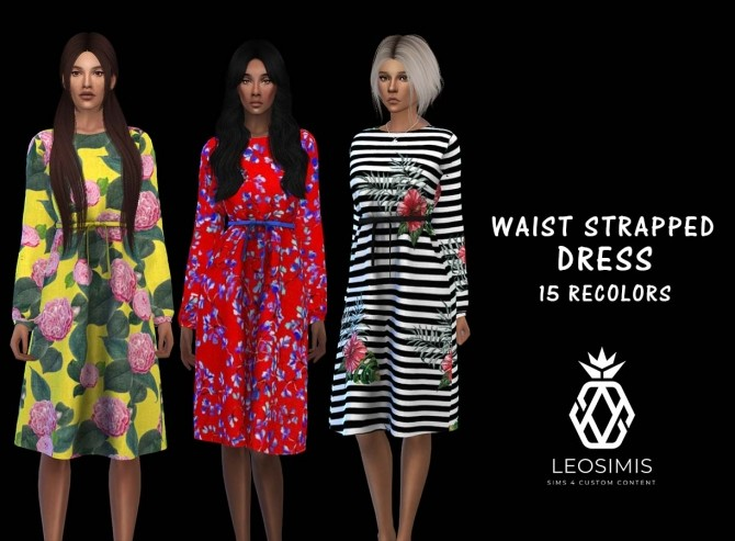 Sims 4 Waist Dress at Leo Sims