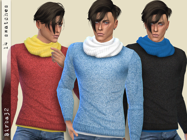 Sims 4 Sweater with scarf by Birba32 at TSR