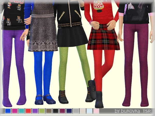 Sims 4 Knitted Tights for girls by bukovka at TSR