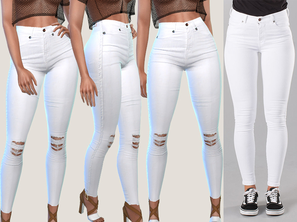 Sims 4 Bianca White Denim Jeans by Pinkzombiecupcakes at TSR