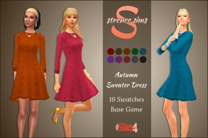 Sims 4 Autumn Sweater Dress at Strenee Sims
