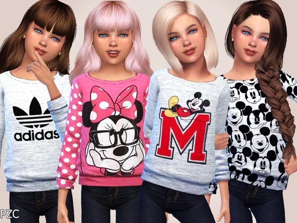 Sims 4 Girls Sweatshirts Collection 01 by Pinkzombiecupcakes at TSR