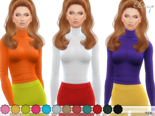 Ribbed Turtleneck Top by ekinege at TSR image 21 Sims 4 Updates
