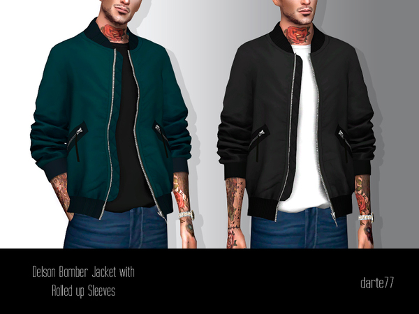 Sims 4 Bomber Jacket with Rolled up Sleeves by Darte77 at TSR