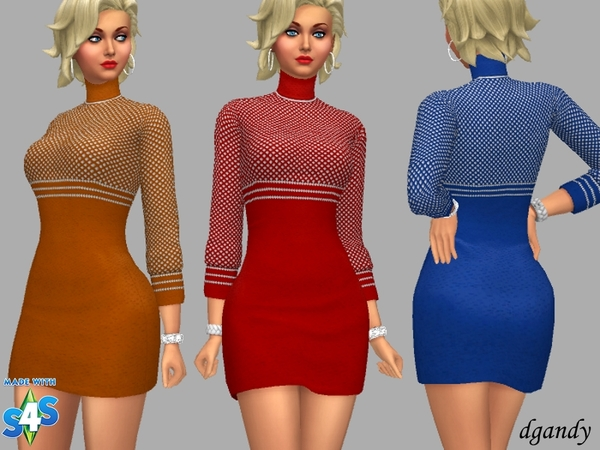 Sims 4 Turtle Neck Dress Olivia by dgandy at TSR