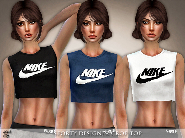 Sims 4 Sporty Designer Crop Top by Black Lily at TSR