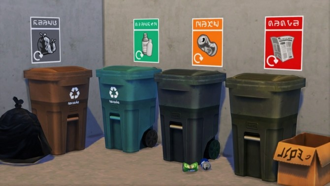 Sims 4 Remake nr.1 Recycling posters at Budgie2budgie