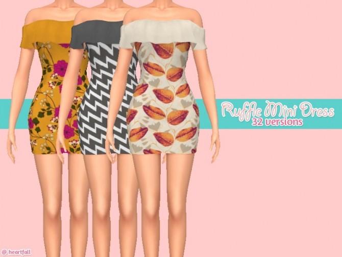 Ruffle mini dress recolors at Heartfall image 2251 670x503 Sims 4 Updates