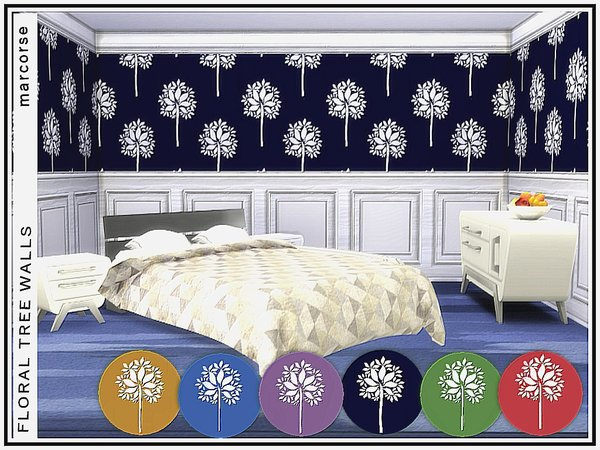 Sims 4 Floral Tree Walls by marcorse at TSR