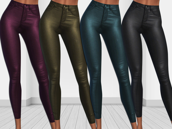Sims 4 New Winter Trends Colorful Leather Skinny Pants by Saliwa at TSR