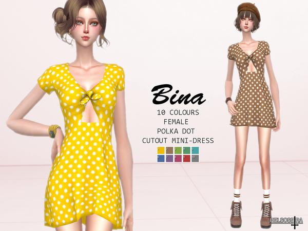 Sims 4 BINA Cutout Mini Dress by Helsoseira at TSR