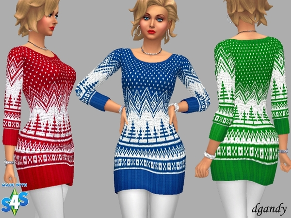 Sims 4 Sweater Dress Molly by dgandy at TSR