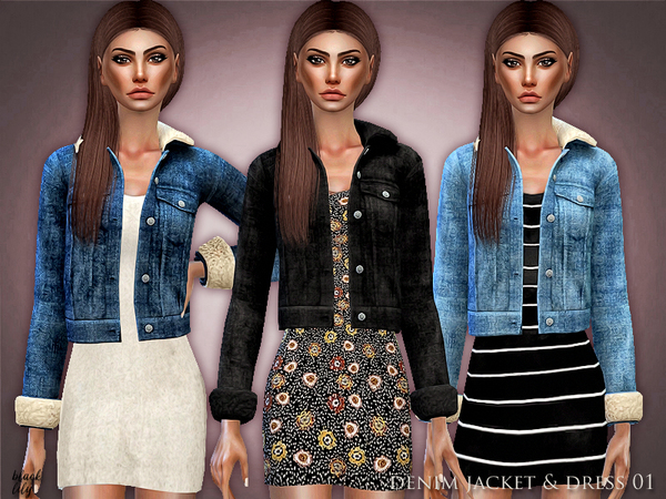 Denim Jacket & Dress 01 by Black Lily at TSR image 2511 Sims 4 Updates