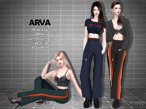 Sims 4 ARVA Wide Leg Pants by Helsoseira at TSR