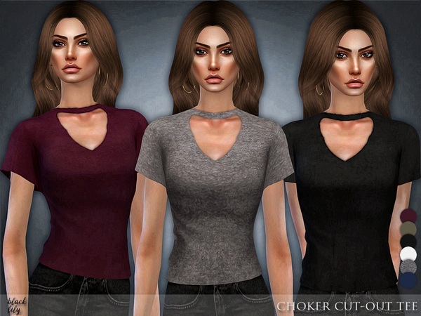 Sims 4 Choker Cut Out Tee by Black Lily at TSR