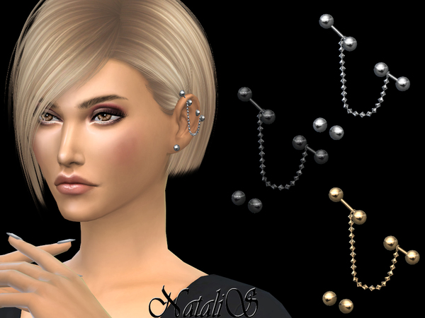 Sims 4 Chain industrial piercing by NataliS at TSR