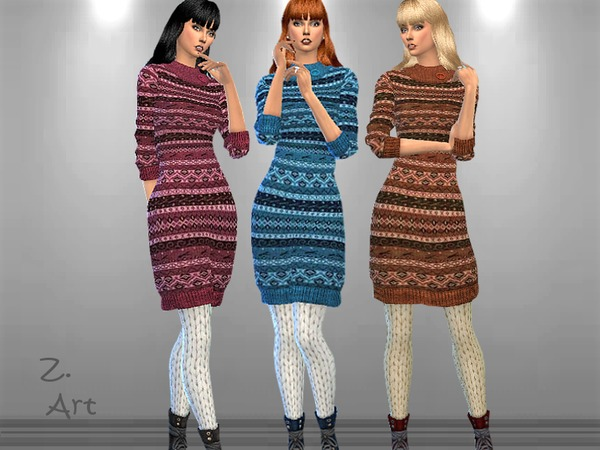 Sims 4 Winter CollectZ 12 patterned knit dress by Zuckerschnute20 at TSR