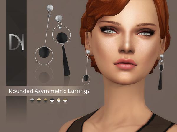 Sims 4 Rounded Asymmetric Earrings by DarkNighTt at TSR