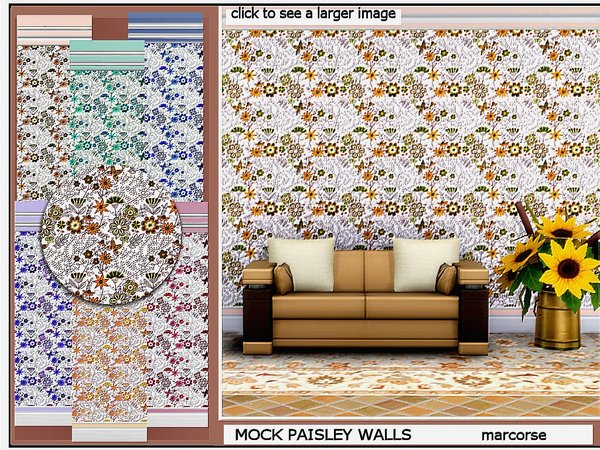 Sims 4 Mock Paisley Walls by marcorse at TSR