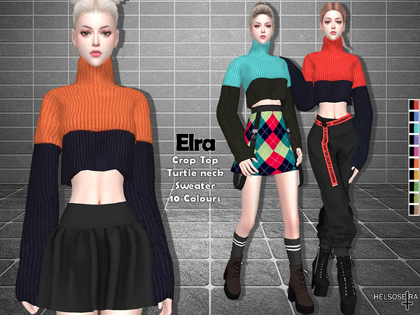 ELRA Crop Sweater Top by Helsoseira at TSR image 352 Sims 4 Updates