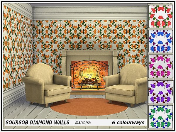 Sims 4 Soursob Diamond Walls by marcorse at TSR