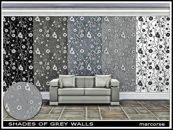 Sims 4 Shades of Grey Walls by marcorse at TSR