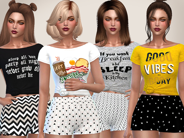 Sims 4 The Breakfast Club Sleep Tees Collection by Pinkzombiecupcakes at TSR