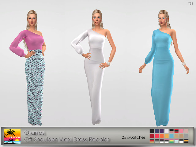 Oranos Off Shoulder Maxi Dress Recolor at Elfdor Sims image 436 Sims 4 Updates