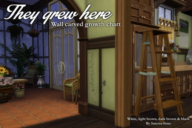 Wall carved growth chart Decal by Sateisa at Mod The Sims image 4420 670x447 Sims 4 Updates