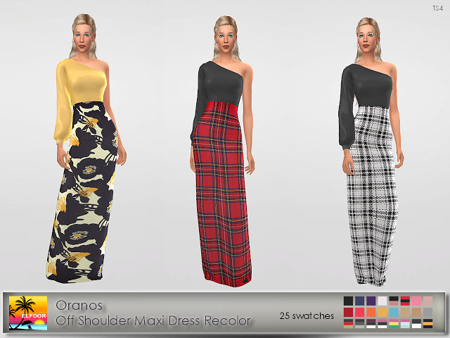 Oranos Off Shoulder Maxi Dress Recolor at Elfdor Sims image 446 Sims 4 Updates