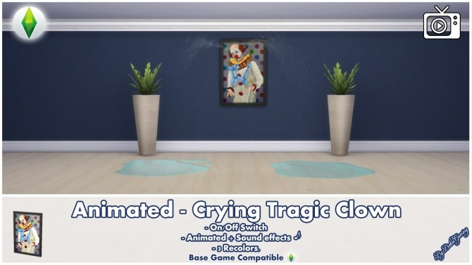 Animated Crying Tragic Clown Painting by Bakie at Mod The Sims image 456 670x377 Sims 4 Updates
