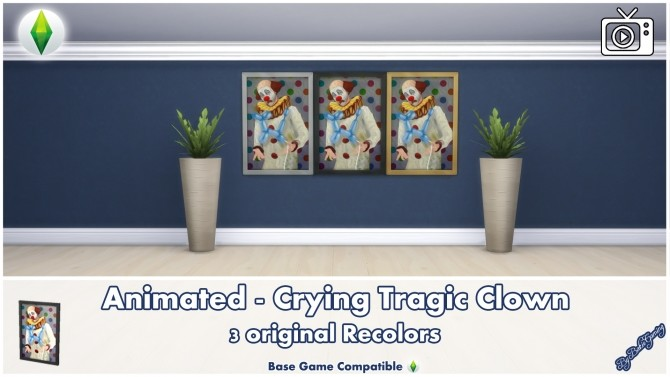 Animated Crying Tragic Clown Painting by Bakie at Mod The Sims image 466 670x377 Sims 4 Updates