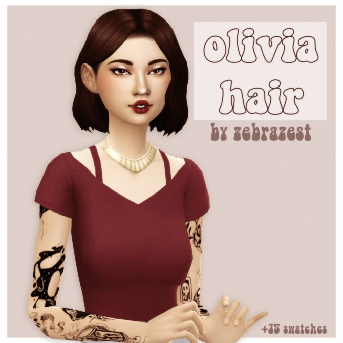 Sims 4 Zebrazest olivia hair recolour at cowplant pizza
