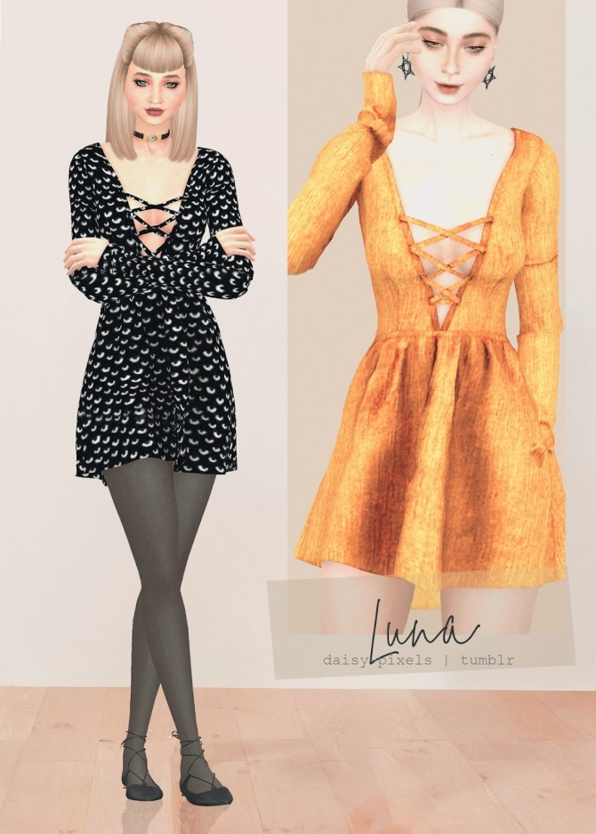 Sims 4 Luna Dress at Daisy Pixels