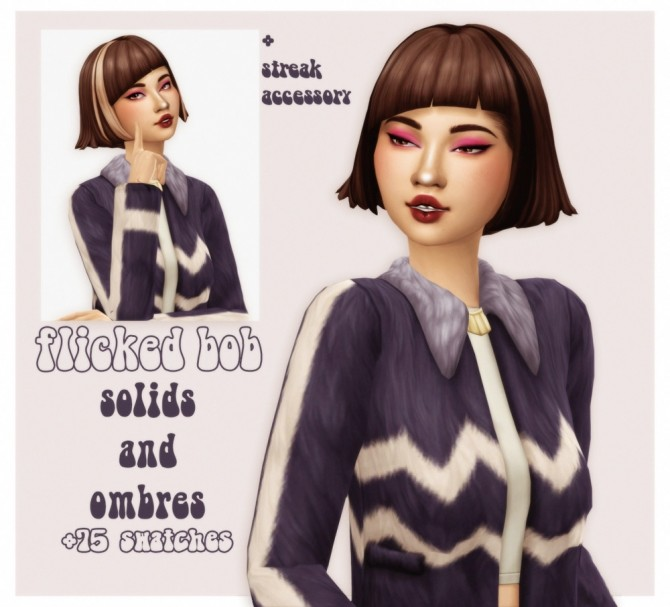 Short flicked bob from get famous in solids, ombres and streaked at cowplant pizza image 4812 670x607 Sims 4 Updates