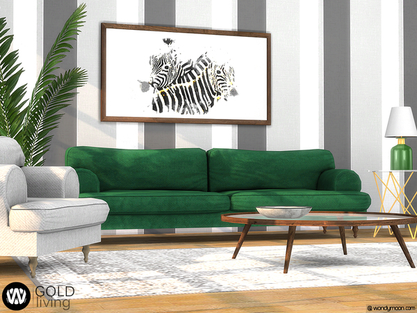 Sims 4 Gold Living by wondymoon at TSR