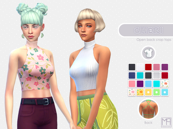 Sims 4 ManueaPinny Cheri open back crop tops by nueajaa at TSR