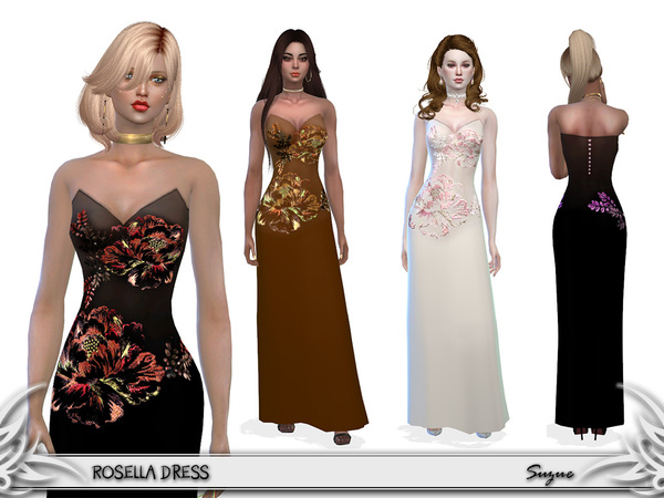Sims 4 Rosella Dress by Suzue at TSR