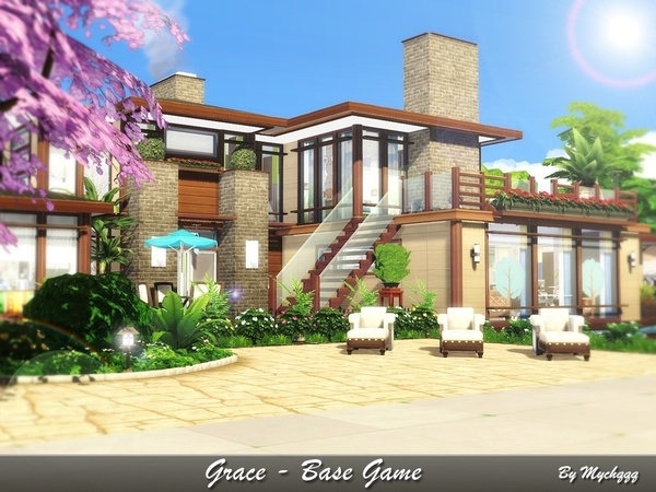 Sims 4 Grace house by MychQQQ at TSR
