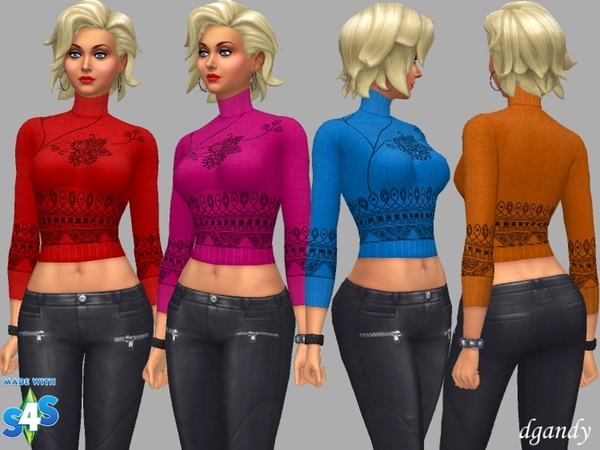 Sims 4 Turtle Neck Top Allyson by dgandy at TSR