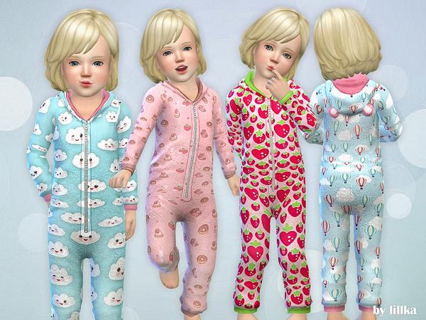 Sims 4 PJ Toddler Romper by lillka at TSR