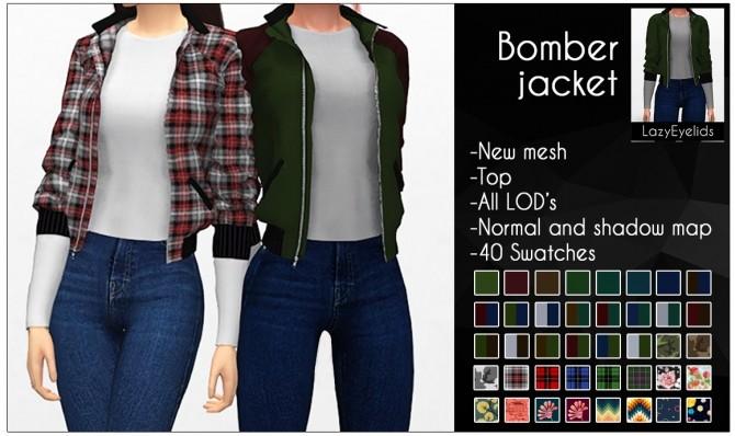 Sims 4 Bomber jacket F at LazyEyelids