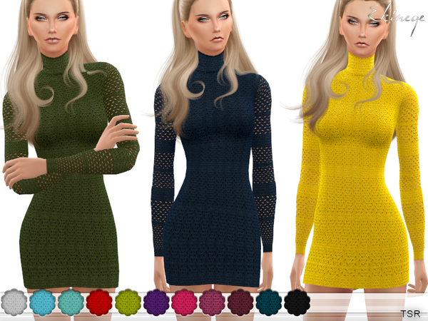 Sims 4 Cable Knit Lace Dress by ekinege at TSR